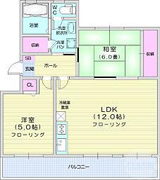 仙台市営南北線 台原駅 徒歩7分の賃貸マンション 2階2LDKの間取り