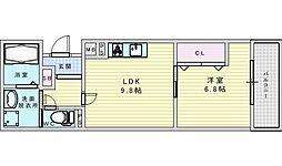 阪急京都本線 相川駅 徒歩2分の賃貸アパート 2階1LDKの間取り