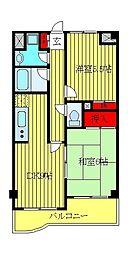 都営三田線 西巣鴨駅 徒歩6分の賃貸マンション 3階2LDKの間取り