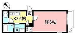 京王線 府中駅 徒歩13分の賃貸マンション 1階1Kの間取り