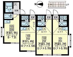 神奈川県横浜市磯子区森6丁目の賃貸アパートの間取り