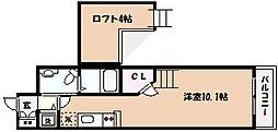 ワコーレヴィアノ芦屋三条 1階1Kの間取り