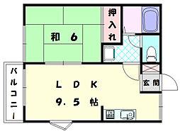 ゆりハイツ2[1階]の間取り