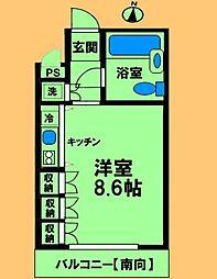 JR横浜線 淵野辺駅 徒歩2分の賃貸マンション 5階ワンルームの間取り