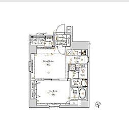 東京メトロ有楽町線 新富町駅 徒歩2分の賃貸マンション 4階1LDKの間取り