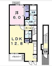 JR山陽本線 庭瀬駅 徒歩17分の賃貸アパート 2階1LDKの間取り