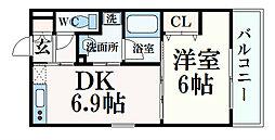 スカイビュー六甲 5階1DKの間取り