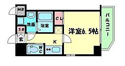 ララプレイス京町堀プロムナード 8階1Kの間取り