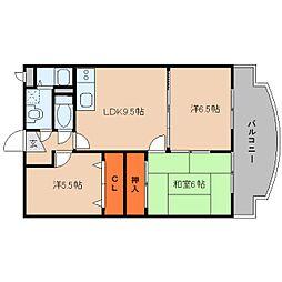 近鉄大阪線 大福駅 徒歩7分の賃貸マンション 2階3LDKの間取り