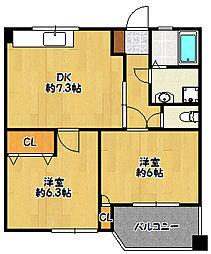 兵庫県神戸市北区北五葉1丁目の賃貸マンションの間取り