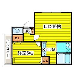 北海道札幌市東区本町一条4丁目の賃貸アパートの間取り