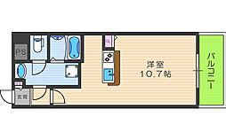 パークフロント福島 7階ワンルームの間取り