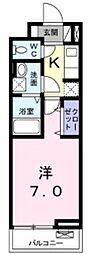 東急田園都市線 中央林間駅 徒歩11分の賃貸アパート 3階1Kの間取り