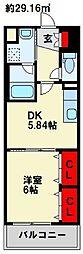 フォレストビュー 4階1DKの間取り