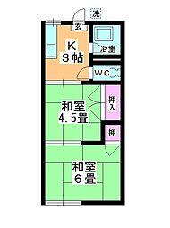 コーポ富士見野[202号室]の間取り