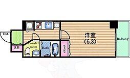 Osaka Metro中央線 阿波座駅 徒歩3分の賃貸マンション 4階1Kの間取り