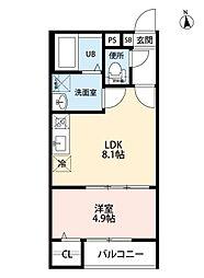 名古屋市営上飯田線 上飯田駅 徒歩9分の賃貸アパート 2階1LDKの間取り