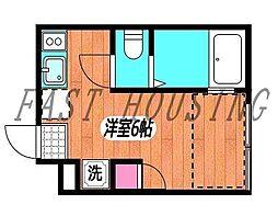 京王線 初台駅 徒歩5分の賃貸アパート 1階ワンルームの間取り