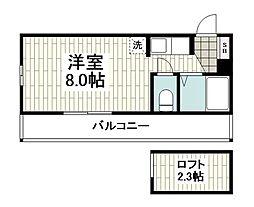 横浜市営地下鉄ブルーライン 上永谷駅 徒歩12分の賃貸アパート 2階ワンルームの間取り