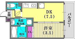 兵庫県神戸市兵庫区駅前通3丁目の賃貸マンションの間取り