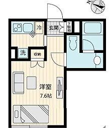 東急世田谷線 上町駅 徒歩1分の賃貸マンション 1階1Kの間取り