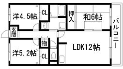 兵庫県宝塚市口谷西3丁目の賃貸マンションの間取り
