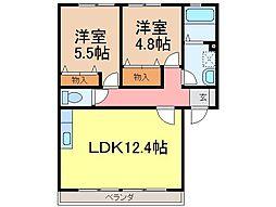 静岡県富士市中里の賃貸アパートの間取り