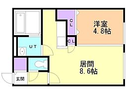 ecoa栄町 2階1LDKの間取り