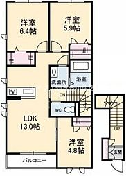 岡山県倉敷市酒津丁目なしの賃貸アパートの間取り