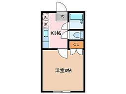 第3シャトーナツヤマ[1階]の間取り