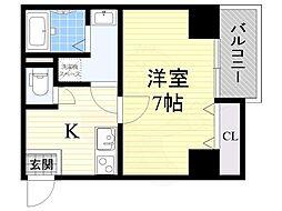ETC福島 7階1Kの間取り