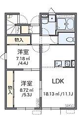 小田急小田原線 鶴川駅 バス15分 真光寺下車 徒歩3分の賃貸アパート 1階2LDKの間取り