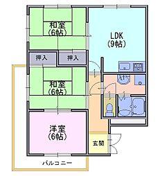 フレール安田[3階]の間取り