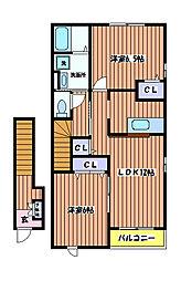 東京都立川市西砂町2丁目の賃貸アパートの間取り