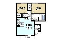 JR桜井線 天理駅 徒歩12分の賃貸アパート 1階2LDKの間取り