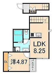 (仮称)西亀有2丁目アパート 2階1LDKの間取り