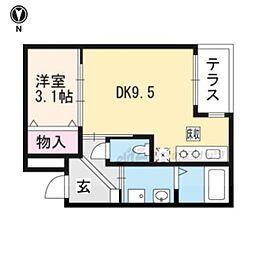 ディアベルジュ 1階1DKの間取り