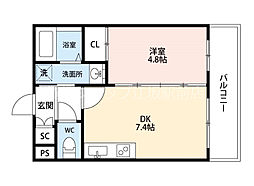 JR東海道・山陽本線 吹田駅 徒歩7分の賃貸マンション 3階1DKの間取り
