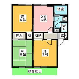 メゾンヤマショーII B[1階]の間取り
