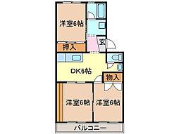 静岡県富士市大淵の賃貸マンションの間取り