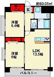 ベルステージ須賀町 7階2LDKの間取り