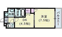 大阪府大阪市阿倍野区天王寺町北1丁目の賃貸マンションの間取り
