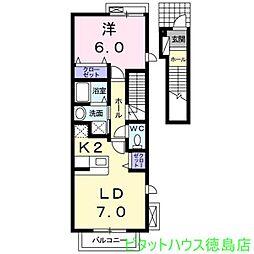 Villa 鶴島B[202号室]の間取り