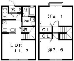 [タウンハウス] 大阪府藤井寺市大井4丁目 の賃貸【/】の間取り