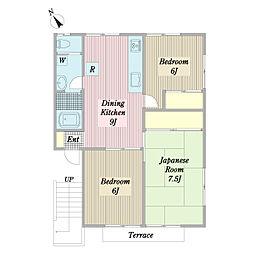 旭ルーミー成田25号館 1階3DKの間取り