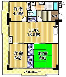 高見フローラルタウン六番街23号棟[11階]の間取り
