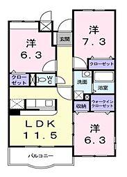 東京都清瀬市下清戸1丁目の賃貸マンションの間取り