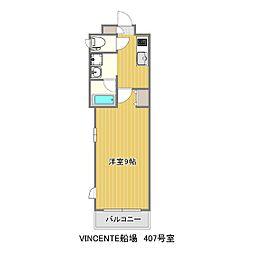 熊本市電B系統 洗馬橋駅 徒歩5分の賃貸マンション 2階1Kの間取り