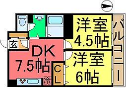 信和江戸川マンション[606号室]の間取り