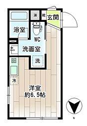 横浜市営地下鉄ブルーライン 三ツ沢下町駅 徒歩1分の賃貸マンション 2階ワンルームの間取り